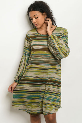 Olive Green Stripe Shift Dress