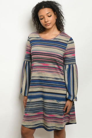 Blue and Pink Stripe Shift Dress
