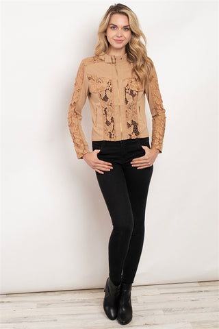 Khaki Brown Lace Moto Jacket