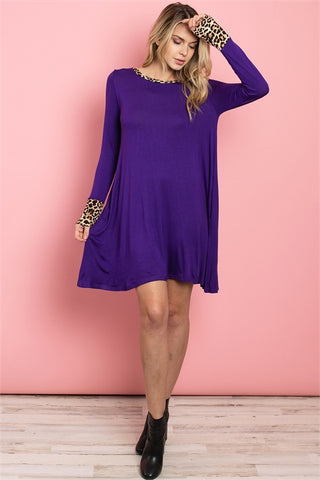 Purple Animal Print Shift Dress