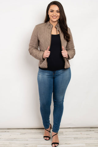 Taupe Quilted Plus Size Jacket