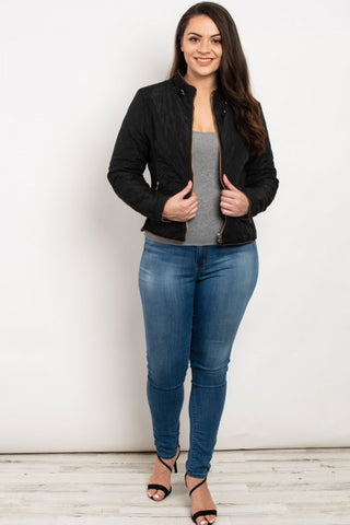 Black Quilted Plus Size Jacket