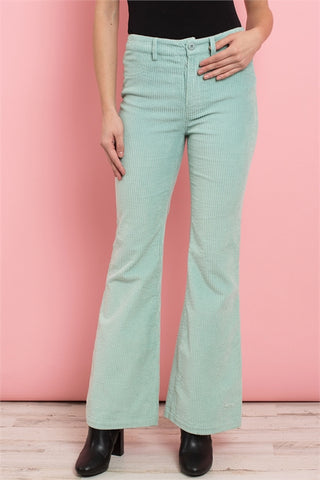 Mint Green Wide Leg Corduroy Pants