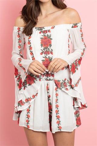 Ivory Floral Bell Sleeve Romper