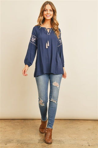 Navy Blue Embroidered Accent Top
