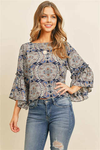 Navy Blue Paisley Print Top