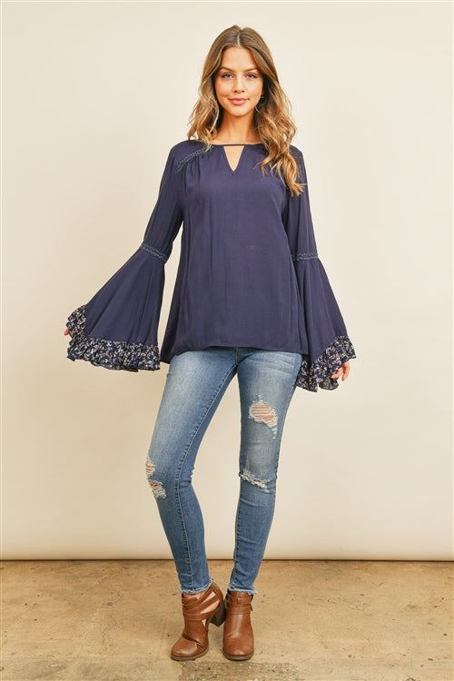 Navy Blue Floral Bell Sleeve Top