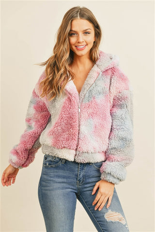 Pink and Gray Tie Dye Sherpa Jacket