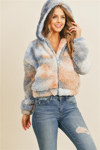 Taupe and Navy Blue Tie Dye Sherpa Jacket