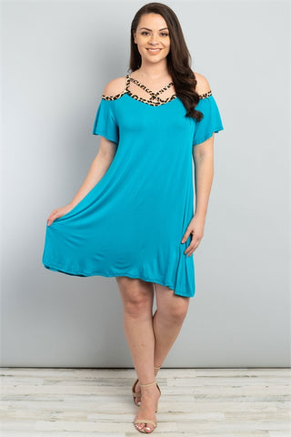 Turquoise Leopard Print Cold Shoulder Plus Size Dress