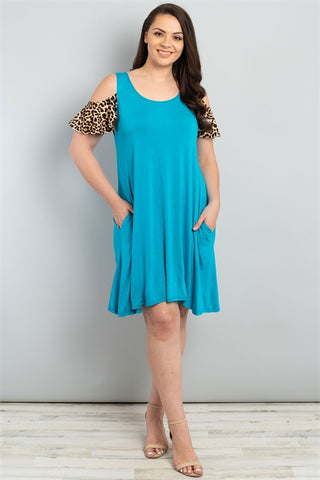 Turquoise Leopard Print Plus Size Dress