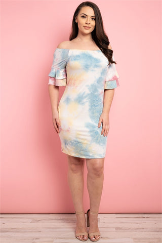 Pink and Blue Tie Dye Cold Shoulder Dress