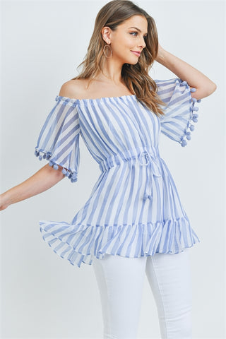 Blue Stripe Cold Shoulder Blouse