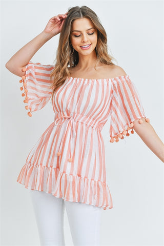 Peach Stripe Cold Shoulder Blouse