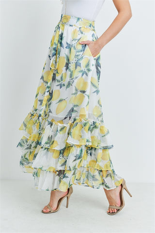 Ivory Lemon Print Ruffled Maxi Skirt