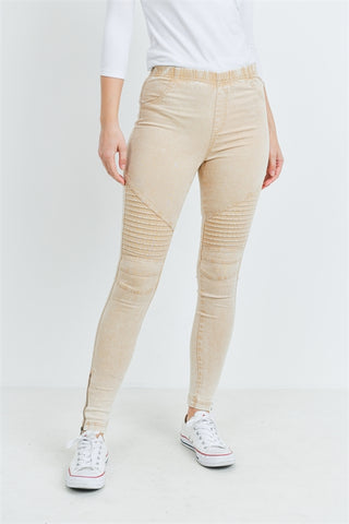 Khaki Stitch Detail Skinny Pants