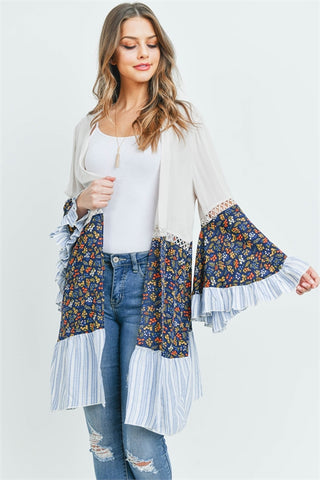 Ivory and Navy Blue Floral Bell Sleeve Cardigan