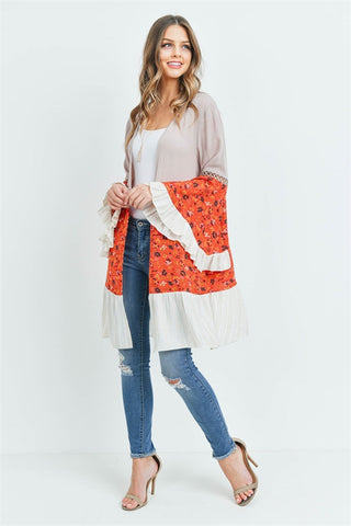 Taupe and Orange Floral Bell Sleeve Cardigan
