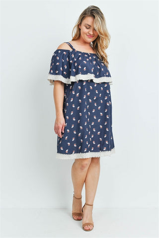 Navy Blue Owl Print Plus Size Dress