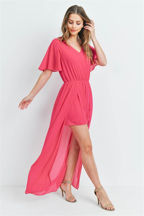 Fuschia Pink Romper Maxi Dress