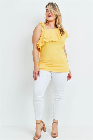 Yellow Ruffled Plus Size Top