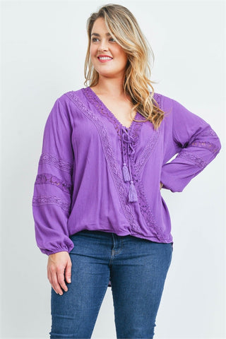 Purple Boho Inspired Plus Size Top