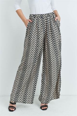 Black and Tan Wide Leg Palazzo Pants