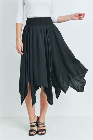 Black Asymmetrical Hem Skirt