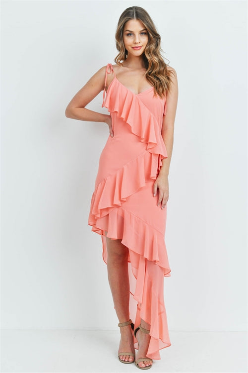 Coral Pink Asymmetrical Hem Maxi Dress