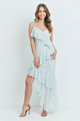Mint Green Asymmetrical Hem Maxi Dress