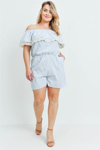 Jade Stripe Cold Shoulder Plus Size Romper