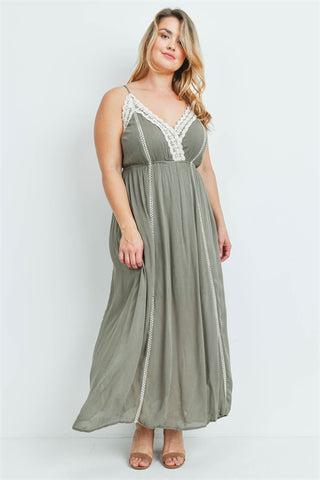 Olive Green Lace Plus Size Maxi Dress