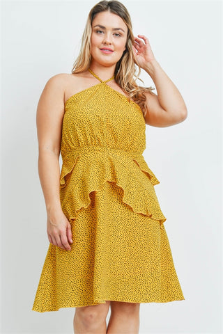 Mustard Yellow and Black Plus Size Sundress