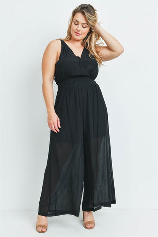 Black Wide Leg Plus Size Jumpsuit