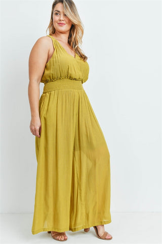 Mustard Yellow Wide Leg Plus Size Jumpsuit