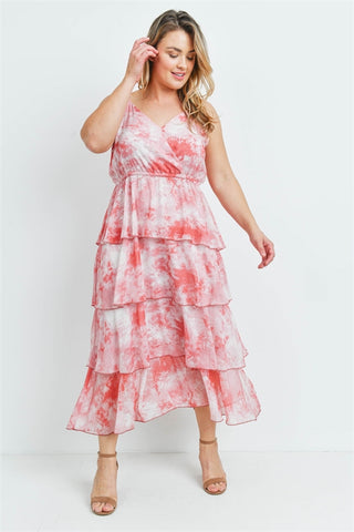Red and White Tie Dye Plus Size Maxi Dress