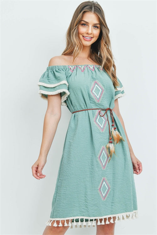 Sage Green Cold Shoulder Boho Dress