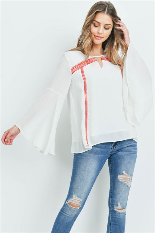Ivory and Coral Bell Sleeve Top