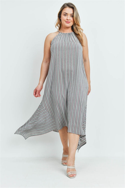 Gray Stripe Plus Size Maxi Dress
