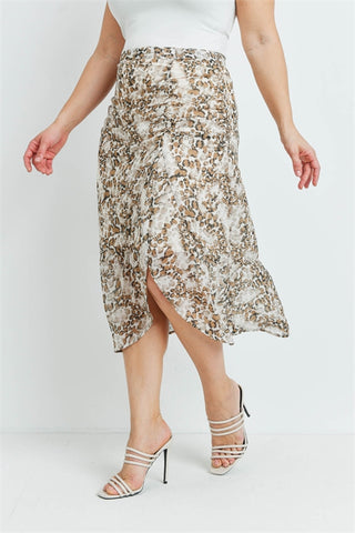 Tan Animal Print Plus Size Skirt