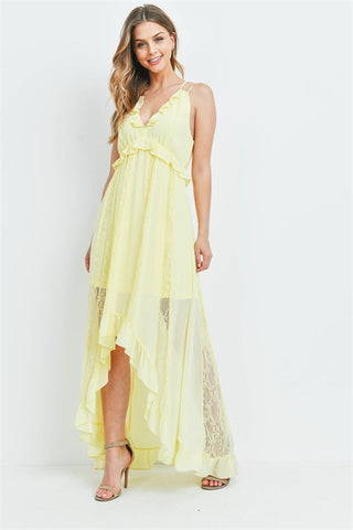 Yellow High Low Lace Accent Maxi Dress