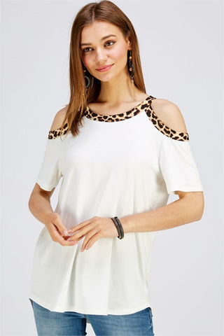 Ivory Cold Shoulder Animal Print Plus Size Top