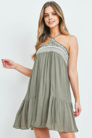 Olive Green Boho Shift Dress