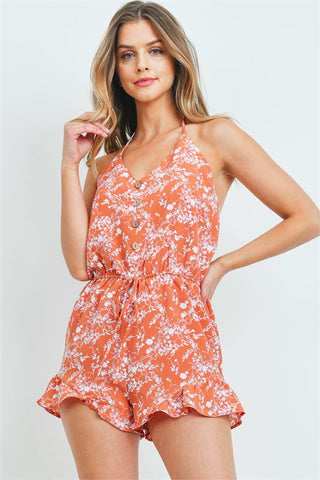Rust Orange Floral Romper