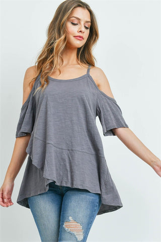 Gunmetal Grey Cold Shoulder Tunic Top
