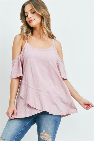 Rose Pink Cold Shoulder Tunic Top