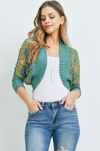 Teal and Olive Crocheted Lace Bolero Shrug