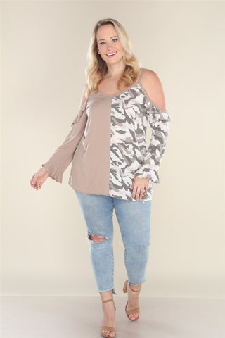 Mocha Brown Camouflage Cold Shoulder Plus Size Top
