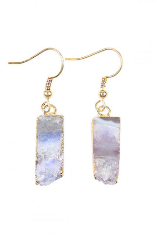 Purple Druzy Stone Pierced Earrings