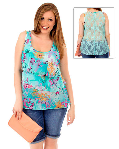 Womens Plus Size Mint Green Layered Tank Top Floral Lace